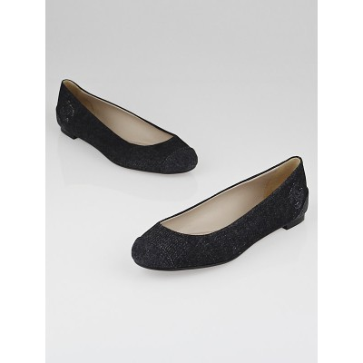 Chanel Black Denim CC Ballet Flats Size 8/38.5