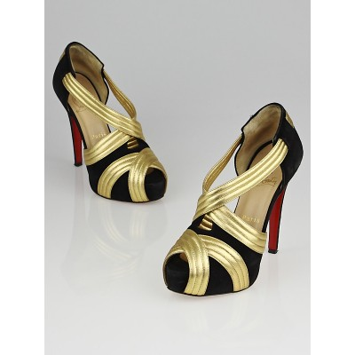 Christian Louboutin Black Suede and Gold Leather Josefa 120 Platform Sandals Size 4.5/35