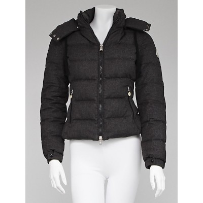 Moncler Charcoal Quilted Wool Down Jacket Size 0