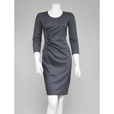 Armani Collezioni Grey Knit Long Sleeve Dress Size 4/38