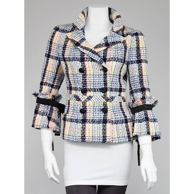 Chanel Off-White Multicolor Tweed Jacket Size 8/40
