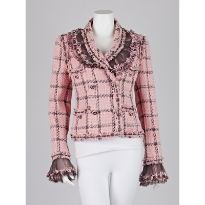 Chanel Pink Tweed with Ruffle Detail Jacket Size 8/40