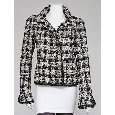 Chanel Black/White Wool Tweed Jacket Size 10/42