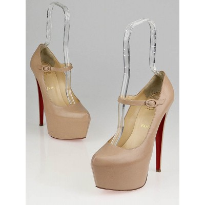 Christian Louboutin Beige Lady Daf 160 Mary Jane Pumps Size 8/38.5