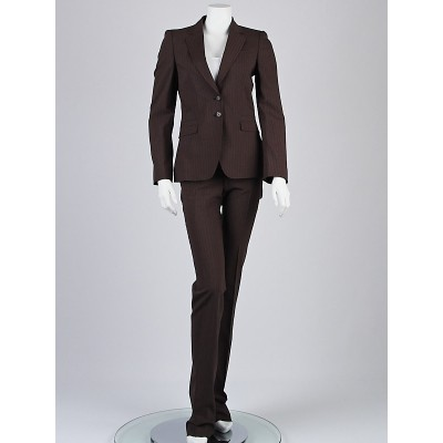 Gucci Brown Pinstripe Wool Blazer Jacket and Pants Suit Size 4/38