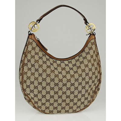 Gucci Beige/Tan GG Canvas Twins Medium Hobo Bag