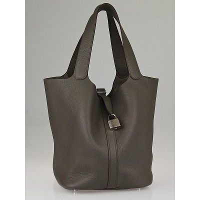 Hermes Graphite Clemence Leather Picotin Lock GM Bag