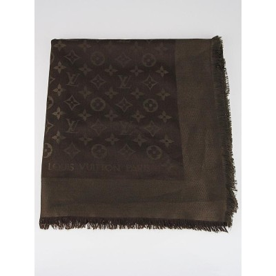 Louis Vuitton Chocolate Monogram Silk/Wool Shawl
