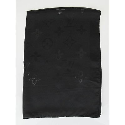 Louis Vuitton Black Monogram Glitter Silk Stole