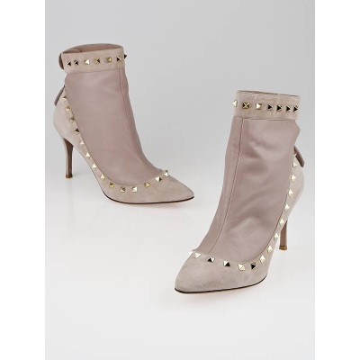 Valentino Beige Leather/Suede Rockstud Revealing Booties Size 10/40.5