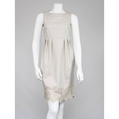 Burberry London Beige Wool Lace Trim Dress Size 6