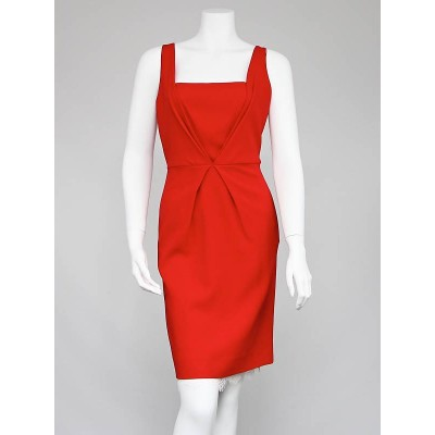 Fendi Red Wool and Lace Dress Size 10/42