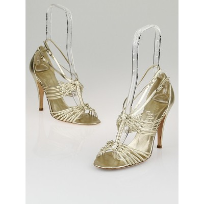 Chanel Gold Leather Knotted Strappy Sandals Size 9/39.5