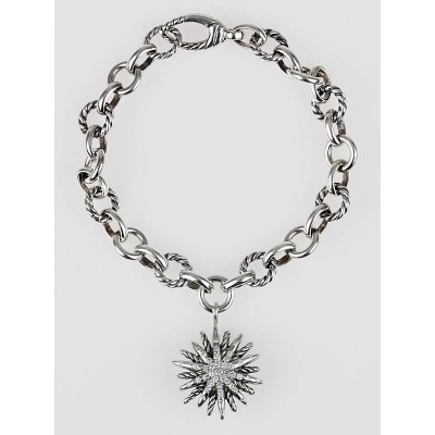 David Yurman Sterling Silver an Diamonds Starburst Charm Bracelet