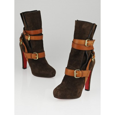 Christian Louboutin Brown Suede Guerriere 120 Boots Size 8.5/39