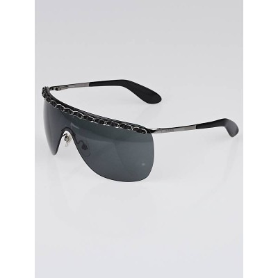 Chanel Black Rimless Shield Chain Sunglasses-4160-Q