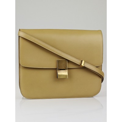 Celine Beige Calf Leather Large Classic Box Flap Bag
