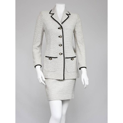 St. John White Wool Tweed Skirt Suit Size 2