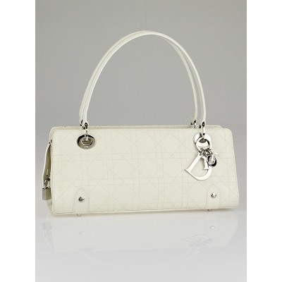 Christian Dior White Cannage Quilted Leather Lady Dior East/West Shopper Bag