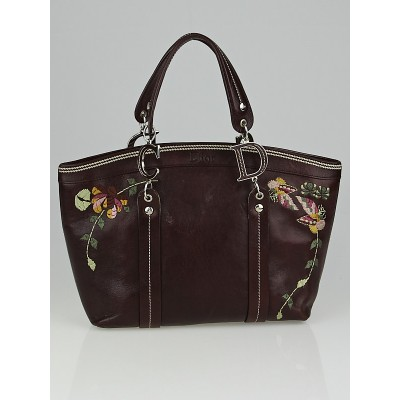 Christian Dior Dark Brown Leather Romantic Flowers Tote Bag with Wallet