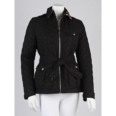 Burberry Black Nylon Quilted Zip-Front Jacket Size S