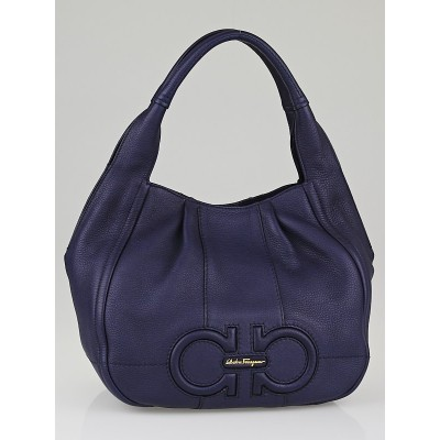 Salvatore Ferragamo Oxford Blue Leather Milly Shoulder Bag