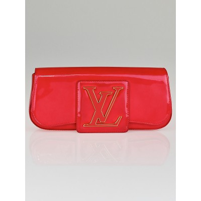 Louis Vuitton Rouge Grenadine Monogram Vernis Pochette Sobe Clutch Bag