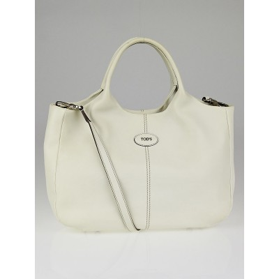 Tod's White Leather In Forma Small Tote Bag