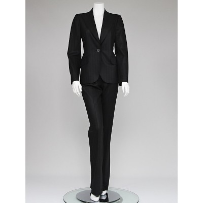 Christian Dior Black Wool Pinstripe Pant Suit Size 6