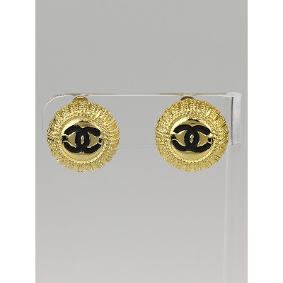 Chanel Gold/Black CC Small Disc Clip-On Earrings