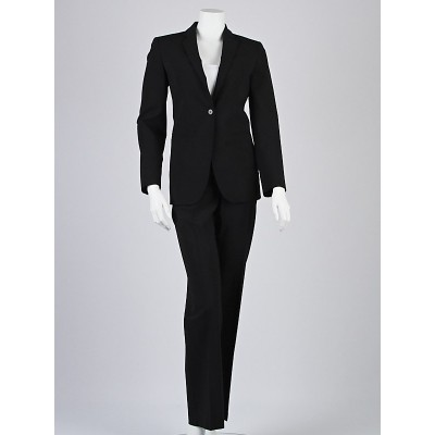 Emporio Armani Black Wool Long Blazer Jacket and Pants Suit Size 2/36