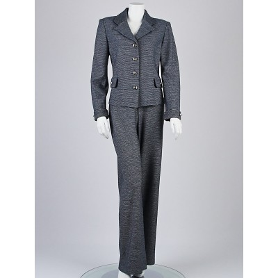St. John Collection Blue/White Knit Pant Suit Size 10