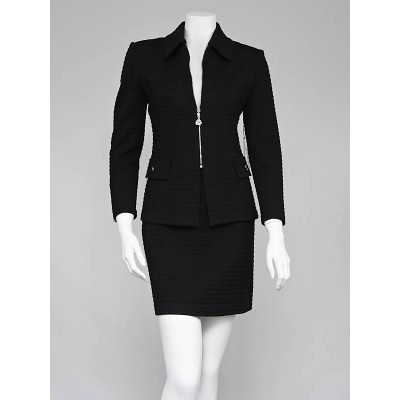 St. John Black Wool Blend Ribbed Knit Skirt Suit Size 2