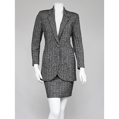 St. John Black/White Knit Skirt Suit Size 2
