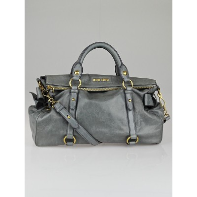 Miu Miu Dove Grey Leather Bow Top Handle Bag