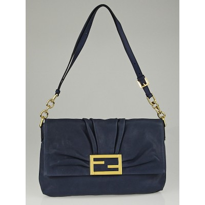 Fendi Blue Leather Large Flap Shoulder Bag