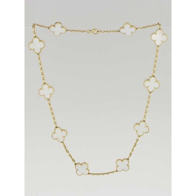Van Cleef & Arpels 18k Gold White Mother-of-Pearl Vintage Alhambra 10 Motif Necklace