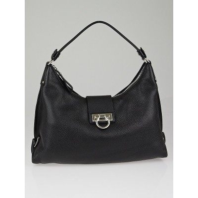 Salvatore Ferragamo Black Leather Fanisa Hobo Bag