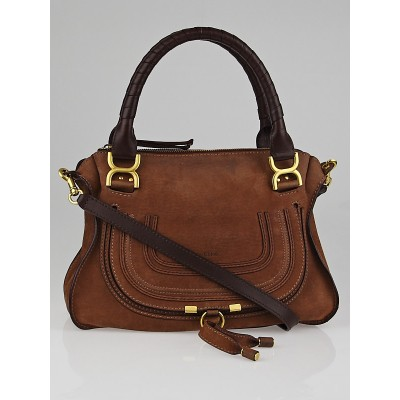 Chloe Nut Nubuck Medium Marcie Satchel Bag