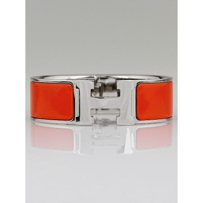 Hermes Orange Enamel Palladium Plated Clic-Clac H GM Wide Bracelet