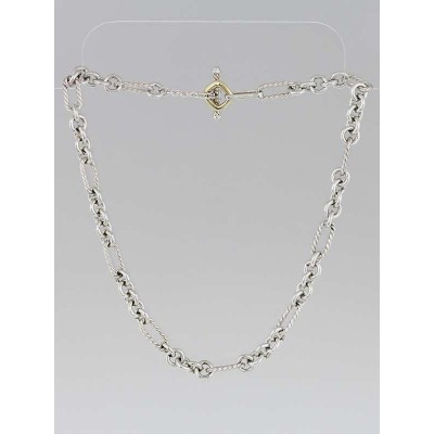 "David Yurman Sterling Silver and 18k Gold Figaro Chain 16"" Necklace"