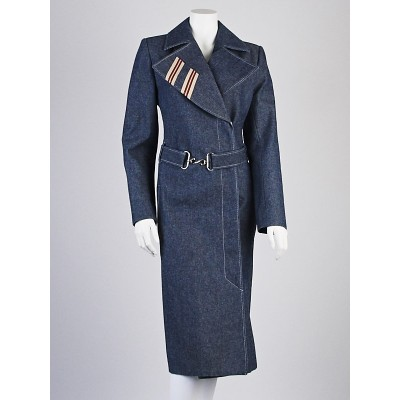 Chloe Blue Denim Long Belted Trench Coat Size 8/40