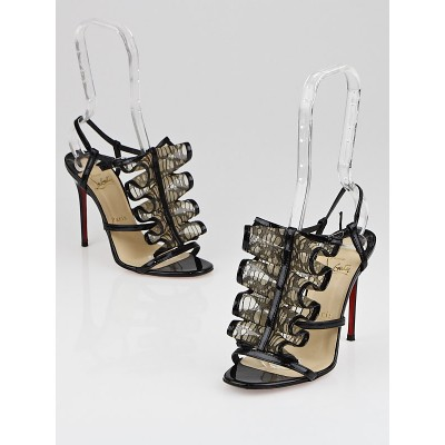 Christian Louboutin Black Patent Leather Lace Fortitia 100 Sandals Size 5/35.5
