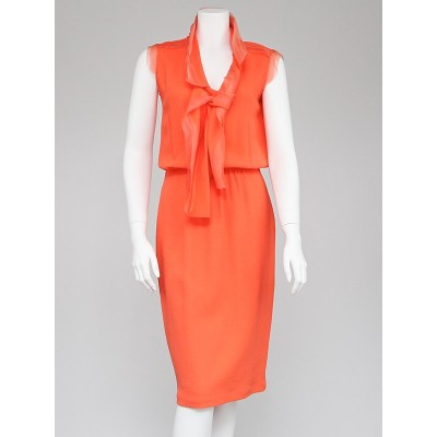 Oscar de la Renta Coral Silk Sleeveless Dress Size 4