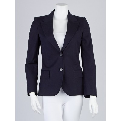 Gucci Navy Blue Cotton Blazer Jacket Size 4/38