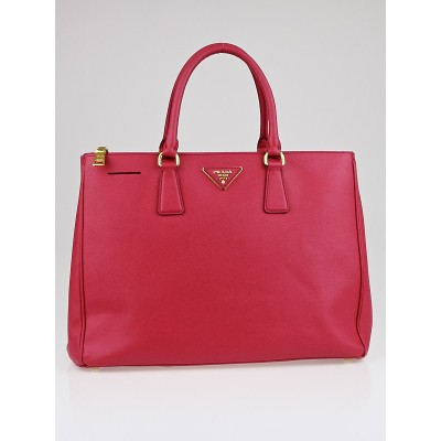Prada Peonia Saffiano Lux Leather Double Zip Large Tote Bag BN1786