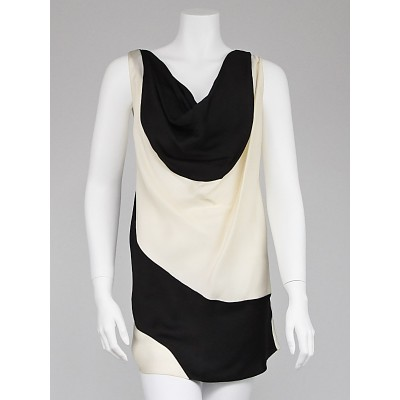 Donna Karan Black/White Fabric Sleeveless Blouse Size 10