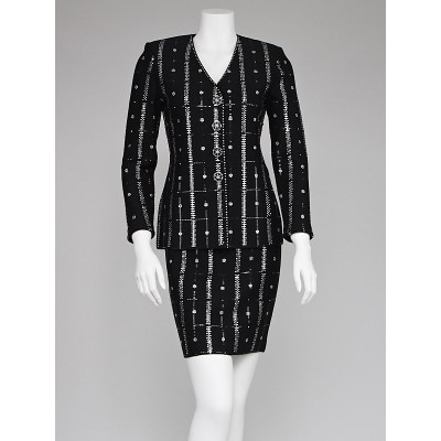 St. John Couture Black Wool Knit and Crystal Suit Size 2