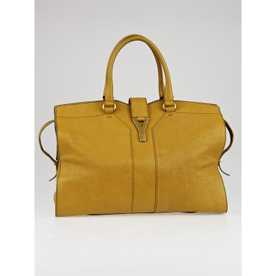Yves Saint Laurent Mustard Yellow Leather Large Cabas ChYc Bag