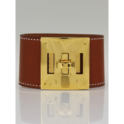 Hermes Natural Barenia Leather Gold Plated Kelly Dog Bracelet